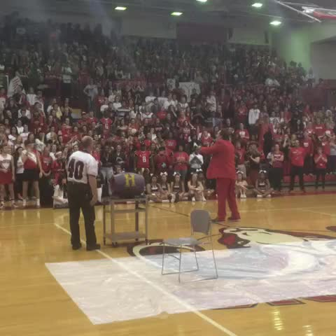 James Millers post on Vine - Male HS David Zuberer taunts his alma mater at Manuals #redwhiteweek pep rally - James Millers post on Vine