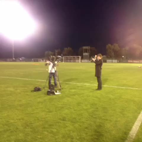 VINE | @FOXFOOTBALL prepare for their pre-match grab as the crowd trickles in! #FFACup #SASvPER - St Albans Saintss post on Vine