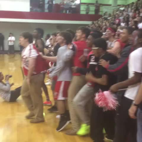 James Millers post on Vine - Seniors & juniors rush the court at the end of the red/white cheer #redwhiteweek - James Millers post on Vine