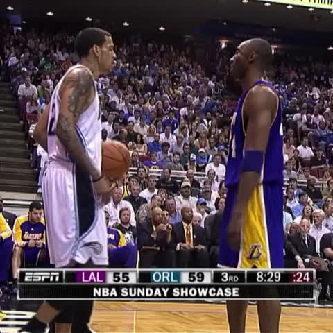 Vine by SportsCenter - Matt Barnes fakes throwing ball at Kobes face.