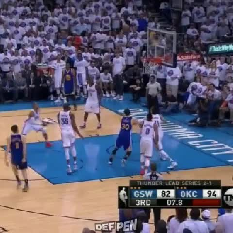Vine by DefPenSports - Russell Westbrook looking like Chris Paul with the brake check on Stephen Curry.