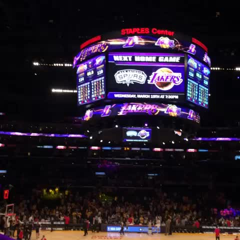 Lawrence Tanters voice booms through STAPLES announcing @Jmeeks20 as the leading scorer. - Lakerss post on Vine