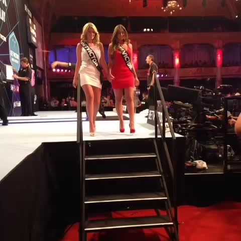 PDCs post on Vine - WOOPS! Walk-on girl Daniella takes a tumble down the stage! #BetVictorDarts - PDCs post on Vine