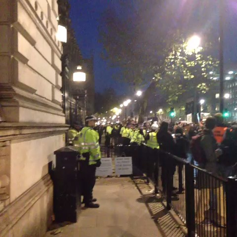 #copsoffcampus protest outside Downing Street. Come form a line in front of the gates. - freds post on Vine