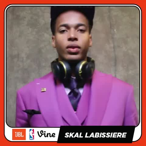 Vine by NBA - Meet the newest ☀️. Skal is #NBAStyle set with the pink suit out here w/ @JBLaudio at the #nbadraft