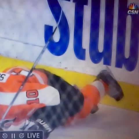 Vine by Nail Gun Hockey Co. - McCabe crumples Schenn on the turnbuckle #BUFvsPHI #sabres #buffalo #dumptruck