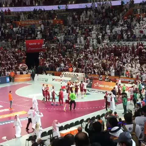 Vine by Ace Pilot Khan - Team #Qatar celebrates after qualifying for the @2015handball final. #Doha #liveitwinit