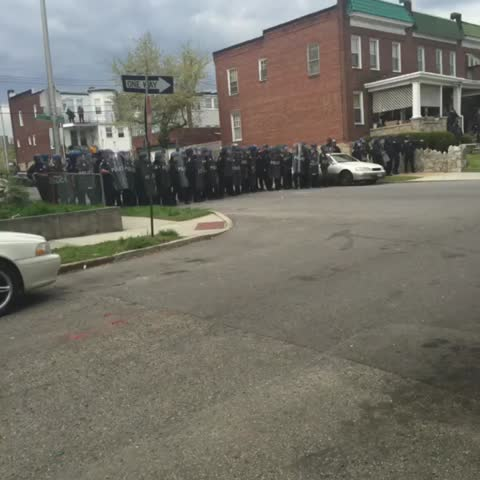 Vine by Netta - Police shooting pepper balls Baltimore #FreddieGray