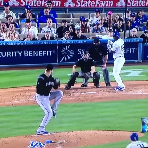 Vine by Ryan Walton - Yasiel Puig didnt like the pitch that got away from Jordan Lyles. #Dodgers #Rockies #LOL