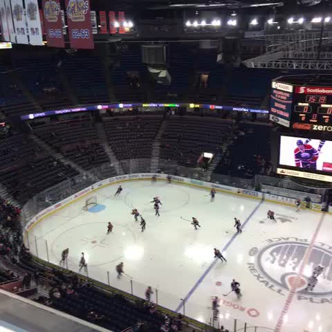Vine by Mike Harrington - We got #Sabres and #Oilers warming up in tonights @TBNSports blimpcam view from Rexall Place. Its a Tankapalooza!!