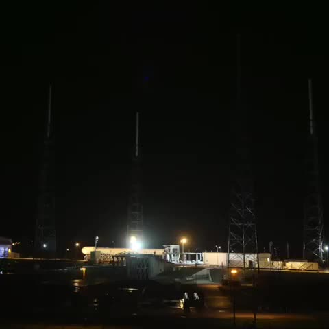 Vine by SpaceX - Falcon 9 now vertical in advance of tomorrow nights launch attempt. Launch window opens 10:50pm ET