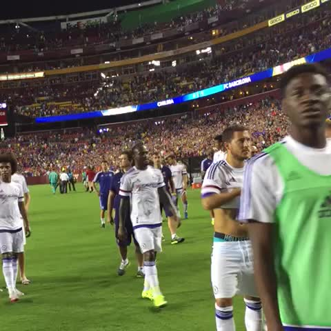 Vine by Chelsea FC - Eden Hazard swaps shirts with Andres Iniesta after Chelsea beat Barcelona 3-2 on penalties... #CFCTour