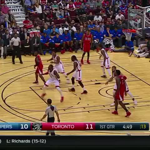 DeAndre Jordan is dunking all over the place. Heres one from earlier courtesy of Blake Griffin. - Vine by LA Clippers - DeAndre Jordan is dunking all over the place. Heres one from earlier courtesy of Blake Griffin.