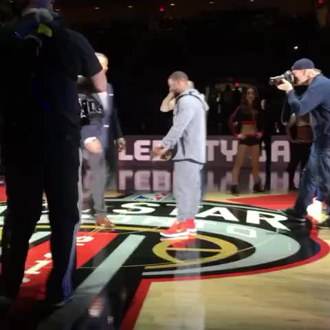 Vine by #NBAAllStarTO - Oh man. This has the making for a good one. #DewCelebGame #NBAVine