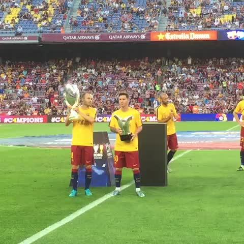 UEFA Supercup trophy and UEFA Best Player award at the Camp Nou #VineFCB #FCBLive - Vine by FC Barcelona - UEFA Supercup trophy and UEFA Best Player award at the Camp Nou #VineFCB #FCBLive