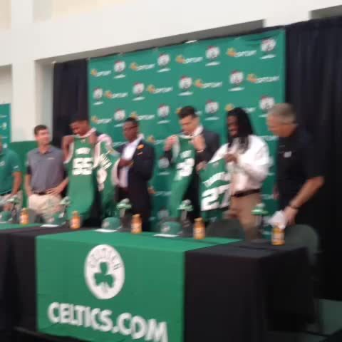 Vine by Chris Forsberg - Celtics rookies and their new jerseys.