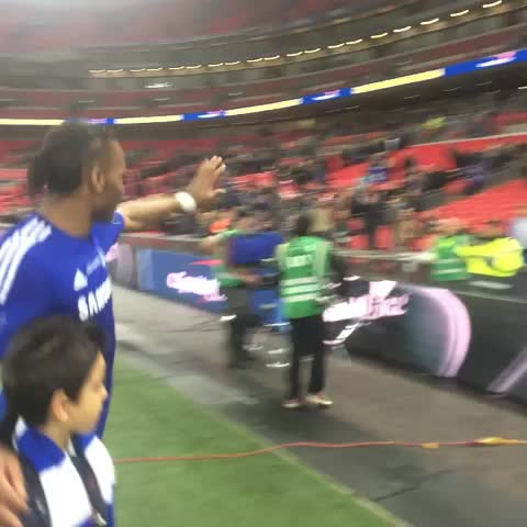 Vine by Chelsea FC - Didier Drogba and Petr Cech leaving the Wembley pitch with another trophy to their name! #CFC #ChelseaFC