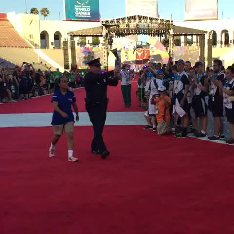 Vine by SportsCenter - The flame continues to burn bright for Special Olympics. #ReachUpLA