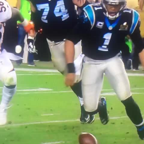 Vine by Sarah Ellison - Cam Newton doesnt jump on his own fumble.