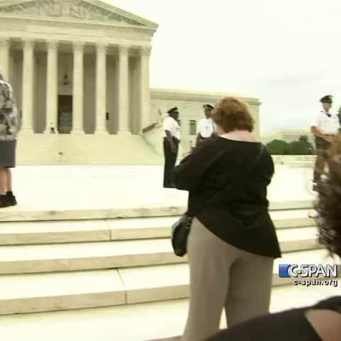 """Vine by C-SPAN - """"Running of the Interns"""" outside the Supreme Court. #SCOTUS"""