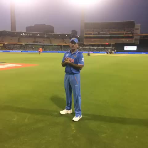 Vine by Cricket World Cup - MS Dhoni and #IND march on in #cwc15 and its fans stay to applaud!