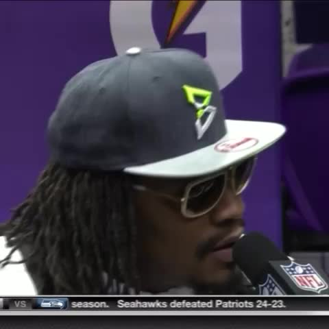 Vine by Pete Blackburn - Marshawn Lynchs entire press conference.