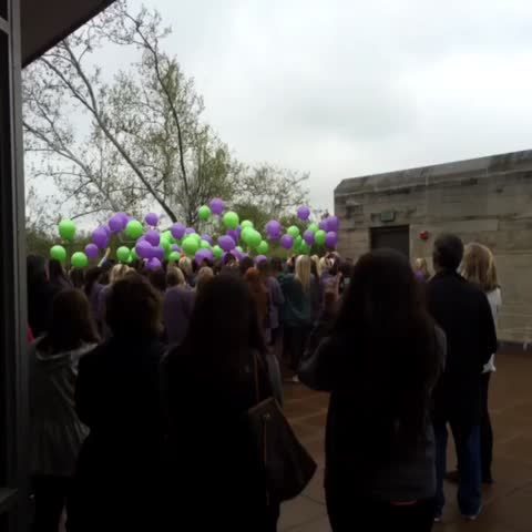 Vine by MichaelAnthonyAdams - #HannahWilsons sorority sisters release green and purple balloons on the deck of the solarium to pay tribute to their lost friend.