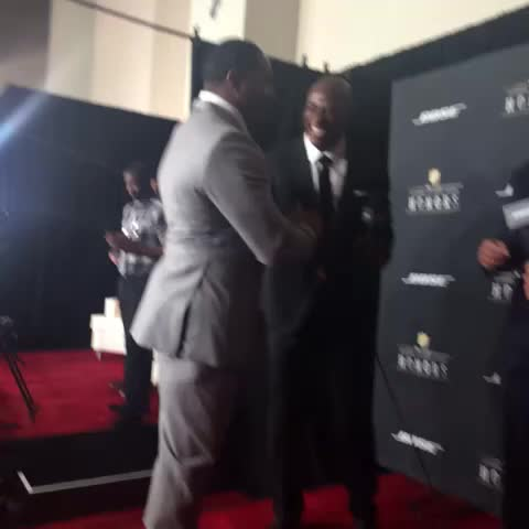 Vine by NFL - Hey Sugar Ray. Hey DeMarcus. Hey Brian. Hey Fitz. #NFLHonors