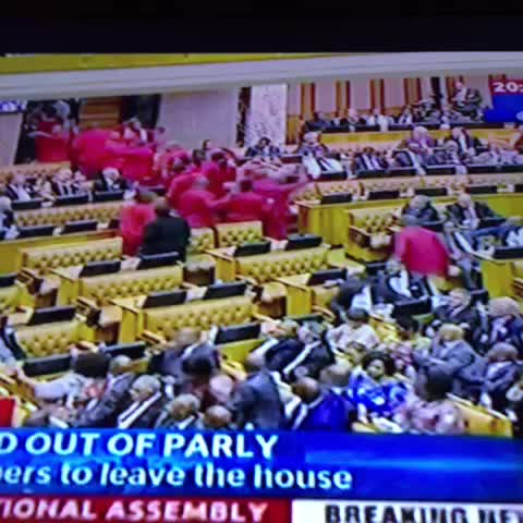 Vine by Reuben Goldberg - #ZuptaMustFall EFF walk out of #SONA2016
