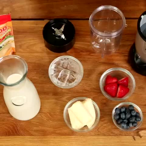 Prepared ingredients to make a smoothie