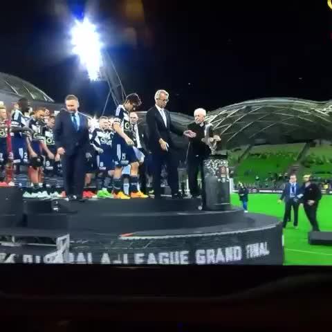 Vine by Football Collective - FFA Chairman Frank Lowy with a huge fall. #ALeagueGF