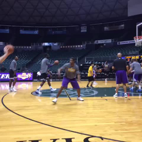 Vine by Mike Trudell - Heres Hibbert knocking down the mid-range J Kobe praised after yesterdays practice. Roys consistent out to 17 feet.