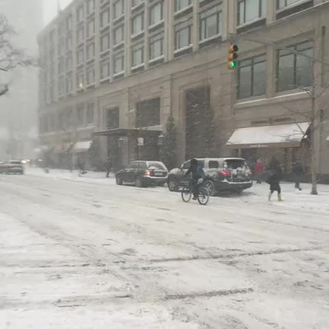 Vine by Eyewitness News - Riding bicycles in a blizzard on Broadway #abc7ny #BlizzardOf2015