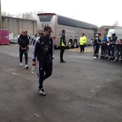 Vine by Swansea City FC - VINE: members of the #Swans squad arrive at turf moor. #Swans