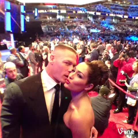 Vine by WWE - Moments before tonights #WWEHOF ceremony, @JohnCena and Nikki @BellaTwins in the #Vine360 booth!