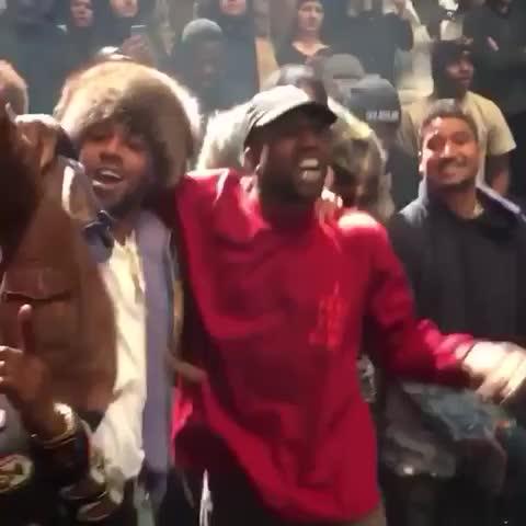 Vine by HipHopHotspot - Kanye West, Kid Cudi & Travis Scott getting lit at #YeezySeason3