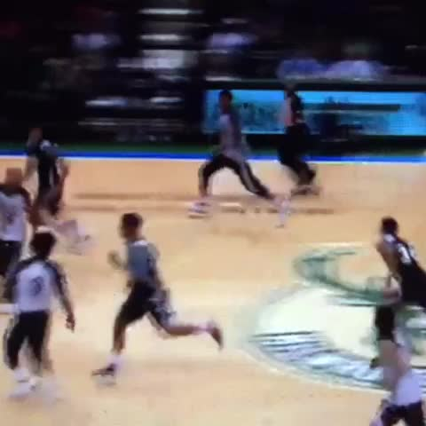 Check out where Giannis takes off from on this dunk. Yeesh. - Vine by BrewHoop - Check out where Giannis takes off from on this dunk. Yeesh.