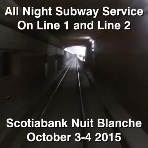 The #TTC is extended subway service for #snbTO. Line 1 and Line 2 will run all night, in addition to the regular Blue Night Network. - Vine by TTCVineVids - The #TTC is extended subway service for #snbTO. Line 1 and Line 2 will run all night, in addition to the regular Blue Night Network.