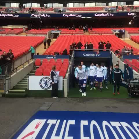 Vine by Chelsea FC - Out go the #ChelseaFC players to warm-up at Wembley! #CFC