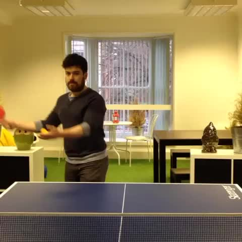 Vine by Giraffe Social Media - When your buddy has #skills and all you wanted was a #friendly #game 👎🏓 • #ponglife #pingpong #officefun #PingPongTrickShots
