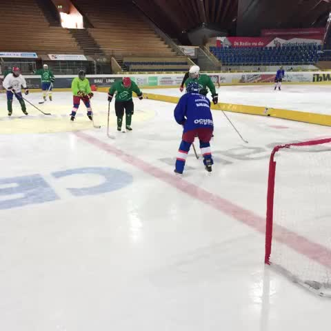 Vine by Southampton FC - #SaintsFCs players attempt a spot of ice hockey during our trip to Switzerland!