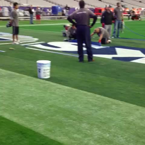 Vine by SNF on NBC - Its Super Bowl Saturday & the #Seahawks endzone paint is almost complete #SB49