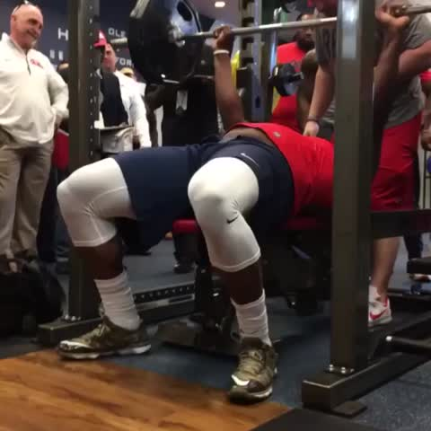 Vine by NFL - This isnt a fast-forward effect. Its Laremy Tunsil putting up 34 reps at Ole Miss Pro Day ????????????