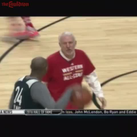 Vine by The Cauldron - Coach Popovich and Kobe Bryant finally play one on one