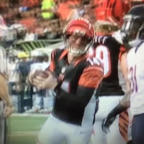 Vine by Jeremy Rauch - Check out the look on Andy Daltons face. I think he spiked the haters last night. #Bengals