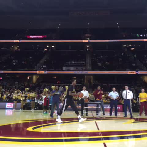 Vine by Cavs - JR sinks it from half-court & sends home a military member with a $30K prize! #WGScrimmage