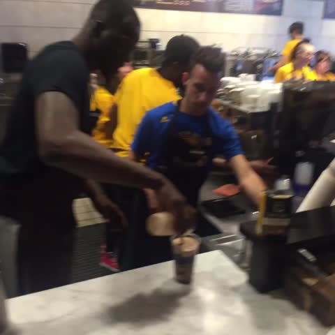 Vine by warriors - .@money23green dishing out @peetscoffee like he does dimes ☕️????