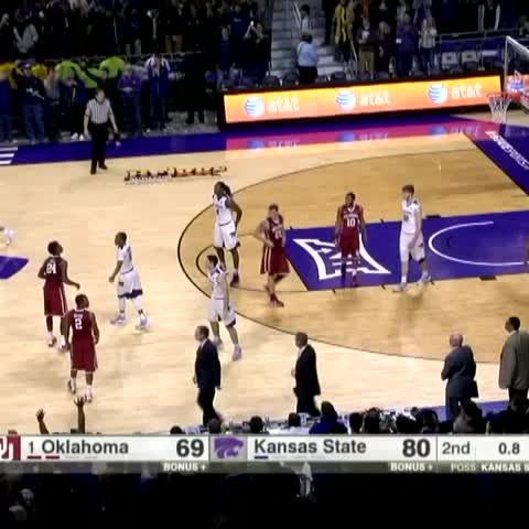 Vine by SportsCenter - Kansas State fans couldnt storm the court... so the players took the celebration to them.