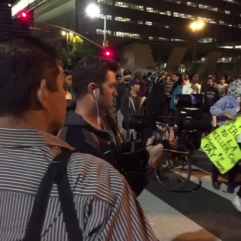 Protest surrounding our crew right now in front of LAPD HQ. #fergusondecision - Kenny Holmess post on Vine