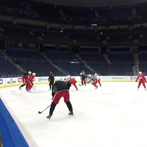 Vine by Detroit Red Wings - The #RedWings are getting ready for the Lightning at morning skate. #ATTExtCov